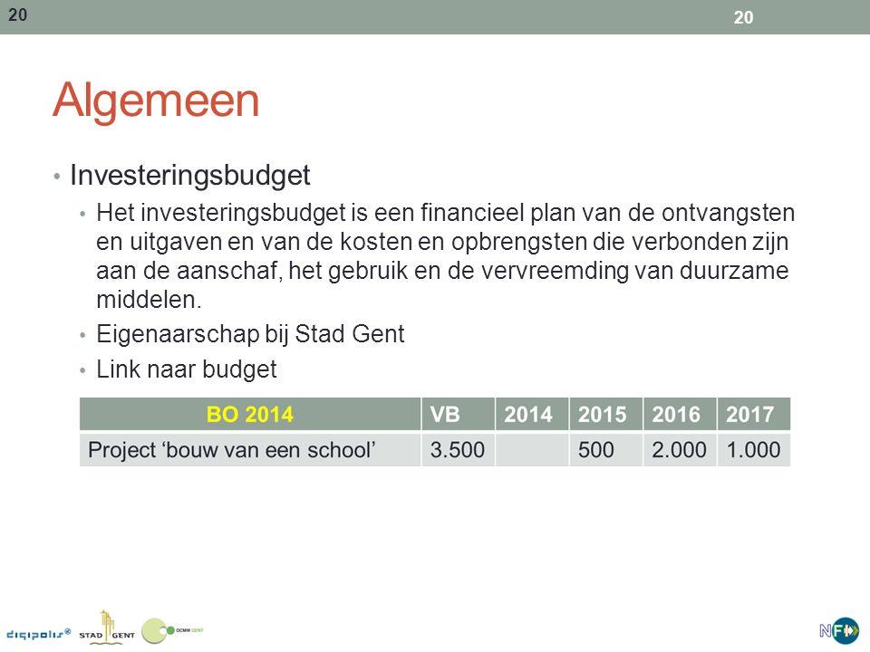 20 Algemeen Investeringsbudget Het investeringsbudget is een financieel plan van de ontvangsten en uitgaven en van de kosten en opbrengsten die verbon