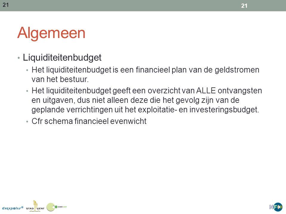21 Algemeen Liquiditeitenbudget Het liquiditeitenbudget is een financieel plan van de geldstromen van het bestuur. Het liquiditeitenbudget geeft een o