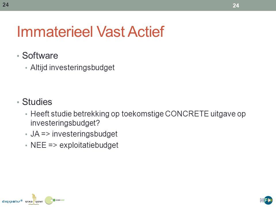 24 Immaterieel Vast Actief Software Altijd investeringsbudget Studies Heeft studie betrekking op toekomstige CONCRETE uitgave op investeringsbudget? J
