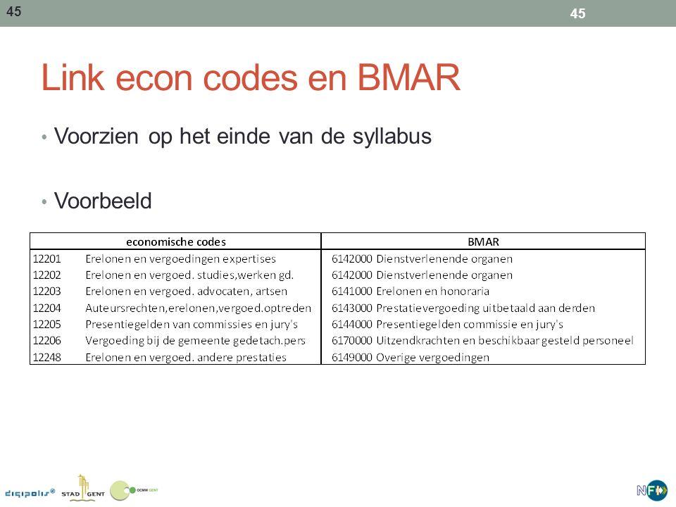 45 Link econ codes en BMAR Voorzien op het einde van de syllabus Voorbeeld 45