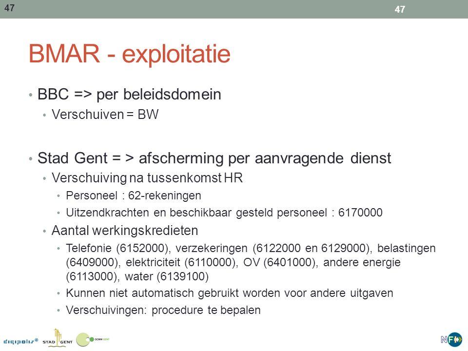 47 BMAR - exploitatie BBC => per beleidsdomein Verschuiven = BW Stad Gent = > afscherming per aanvragende dienst Verschuiving na tussenkomst HR Person