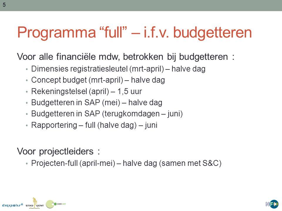 """5 Programma """"full"""" – i.f.v. budgetteren Voor alle financiële mdw, betrokken bij budgetteren : Dimensies registratiesleutel (mrt-april) – halve dag Con"""