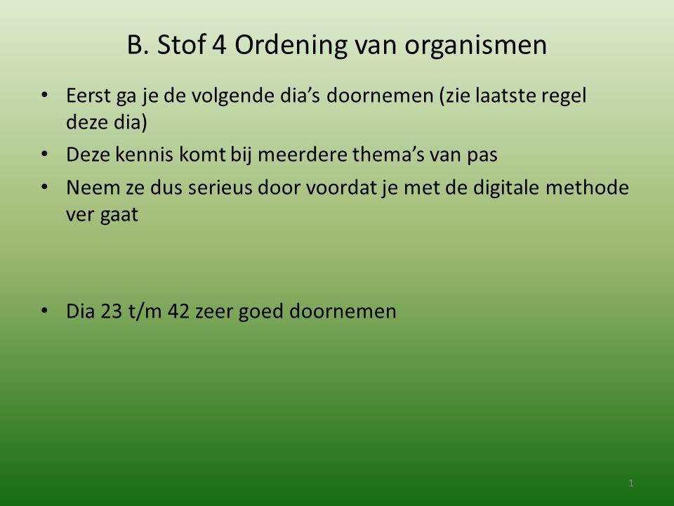 B. Stof 4 Ordening van organismen Eerst ga je de volgende dia's doornemen (zie laatste regel deze dia) Deze kennis komt bij meerdere thema's van pas N