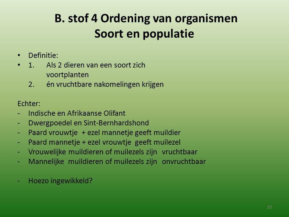 B. stof 4 Ordening van organismen Soort en populatie Definitie: 1. Als 2 dieren van een soort zich voortplanten 2.én vruchtbare nakomelingen krijgen E