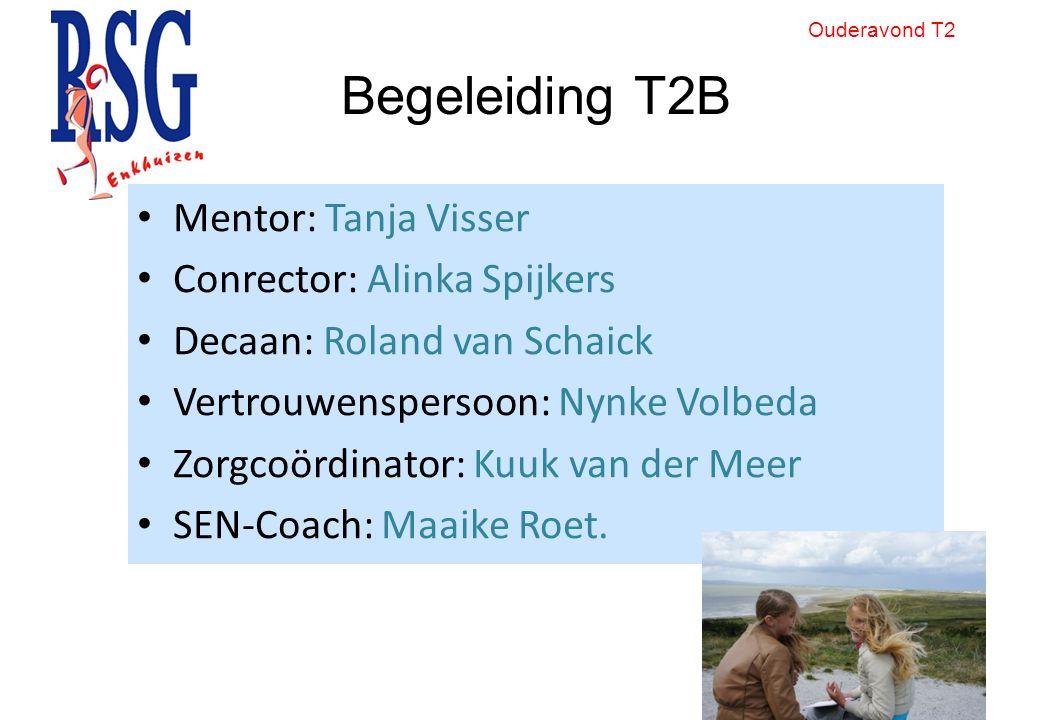 Begeleiding T2B Mentor: Tanja Visser Conrector: Alinka Spijkers Decaan: Roland van Schaick Vertrouwenspersoon: Nynke Volbeda Zorgcoördinator: Kuuk van der Meer SEN-Coach: Maaike Roet.