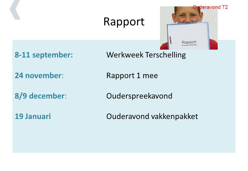 Rapport 8-11 september:Werkweek Terschelling 24 november: Rapport 1 mee 8/9 december: Ouderspreekavond 19 JanuariOuderavond vakkenpakket Ouderavond T2