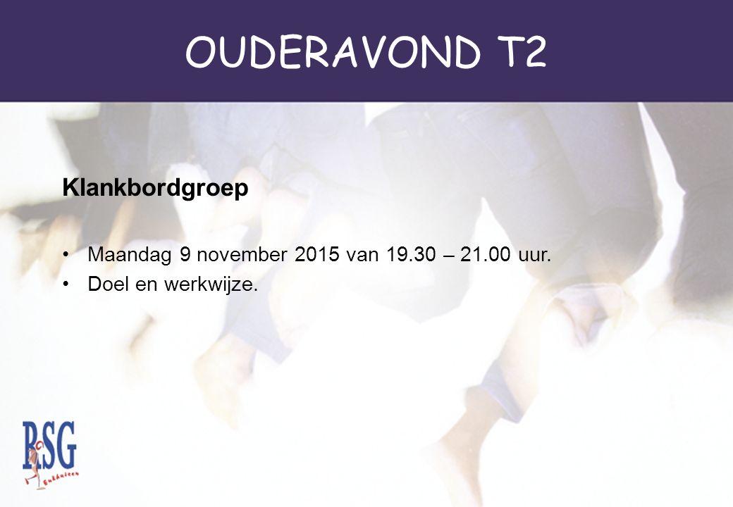 OUDERAVOND T2 Klankbordgroep Maandag 9 november 2015 van 19.30 – 21.00 uur. Doel en werkwijze.