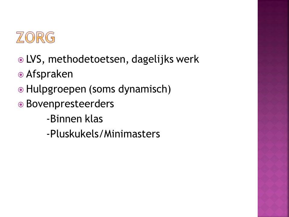  LVS, methodetoetsen, dagelijks werk  Afspraken  Hulpgroepen (soms dynamisch)  Bovenpresteerders -Binnen klas -Pluskukels/Minimasters