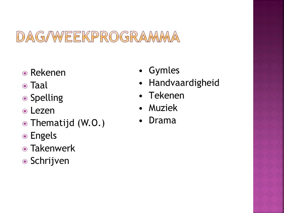  Rekenen  Taal  Spelling  Lezen  Thematijd (W.O.)  Engels  Takenwerk  Schrijven Gymles Handvaardigheid Tekenen Muziek Drama