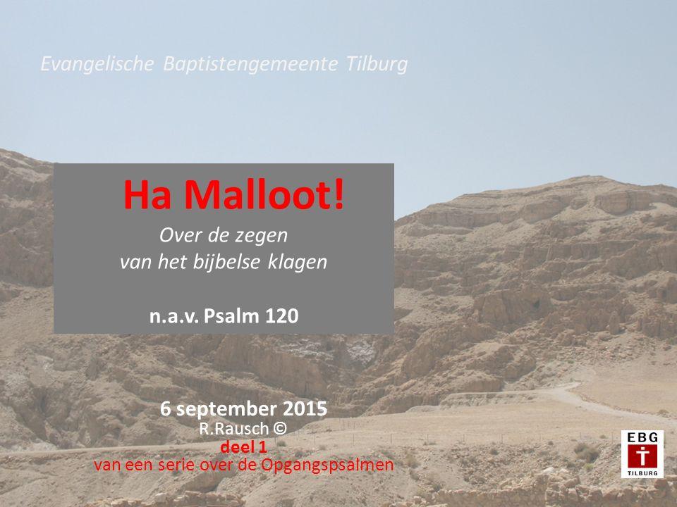 6 september 2015 R.Rausch © deel 1 van een serie over de Opgangspsalmen Evangelische Baptistengemeente Tilburg Ha Malloot! Over de zegen van het bijbe