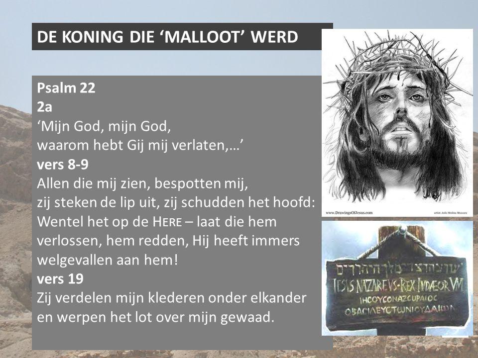 DE KONING DIE 'MALLOOT' WERD Psalm 22 2a 'Mijn God, mijn God, waarom hebt Gij mij verlaten,…' vers 8-9 Allen die mij zien, bespotten mij, zij steken de lip uit, zij schudden het hoofd: Wentel het op de H ERE – laat die hem verlossen, hem redden, Hij heeft immers welgevallen aan hem.