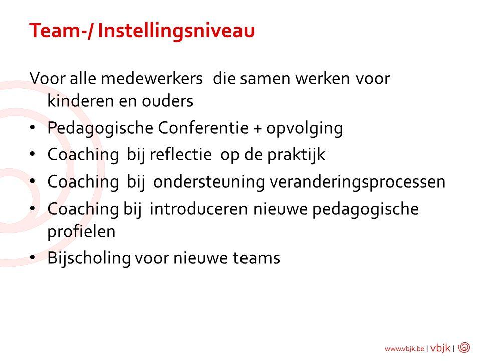 Voor alle medewerkers die samen werken voor kinderen en ouders Pedagogische Conferentie + opvolging Coaching bij reflectie op de praktijk Coaching bij ondersteuning veranderingsprocessen Coaching bij introduceren nieuwe pedagogische profielen Bijscholing voor nieuwe teams Team-/ Instellingsniveau