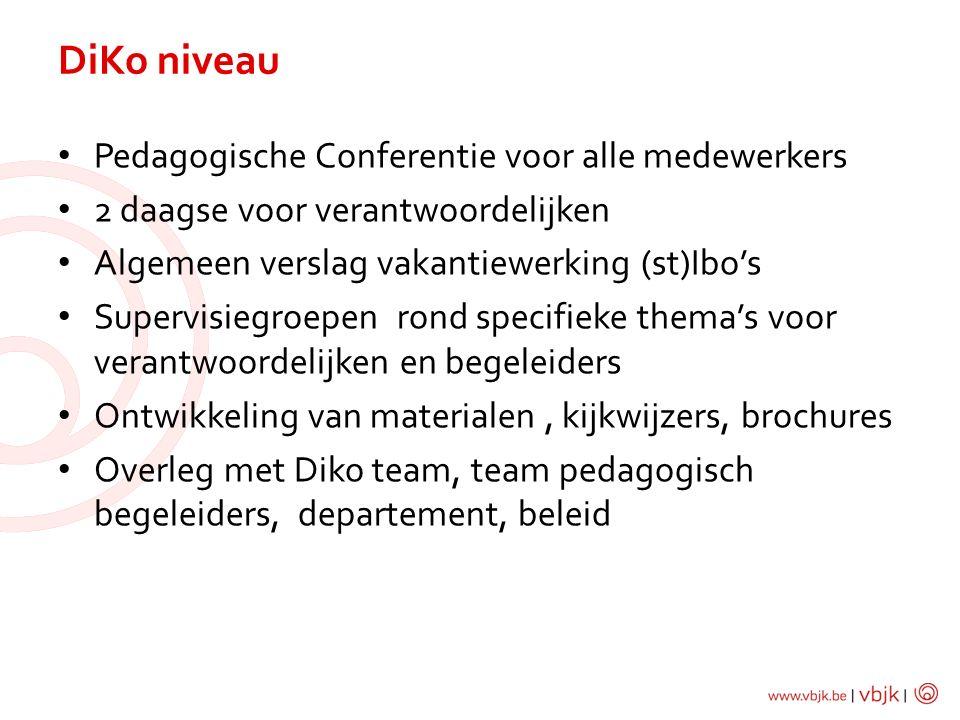 Pedagogische Conferentie voor alle medewerkers 2 daagse voor verantwoordelijken Algemeen verslag vakantiewerking (st)Ibo's Supervisiegroepen rond specifieke thema's voor verantwoordelijken en begeleiders Ontwikkeling van materialen, kijkwijzers, brochures Overleg met Diko team, team pedagogisch begeleiders, departement, beleid DiKo niveau