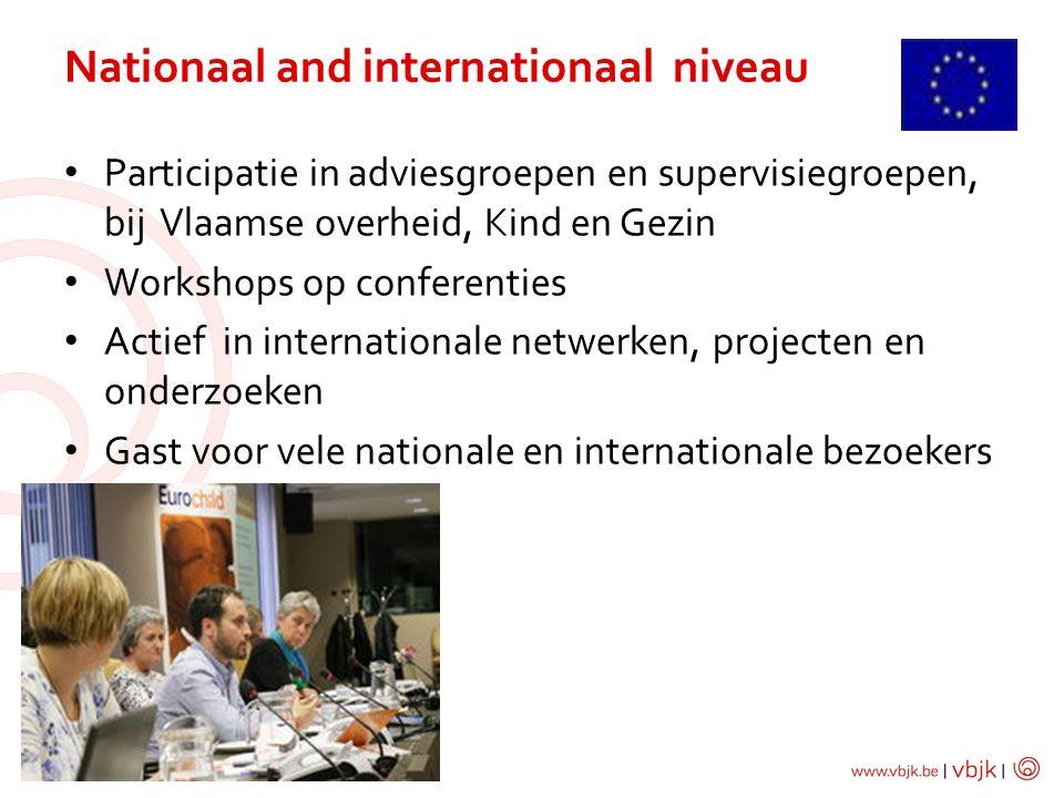 Participatie in adviesgroepen en supervisiegroepen, bij Vlaamse overheid, Kind en Gezin Workshops op conferenties Actief in internationale netwerken, projecten en onderzoeken Gast voor vele nationale en internationale bezoekers Nationaal and internationaal niveau