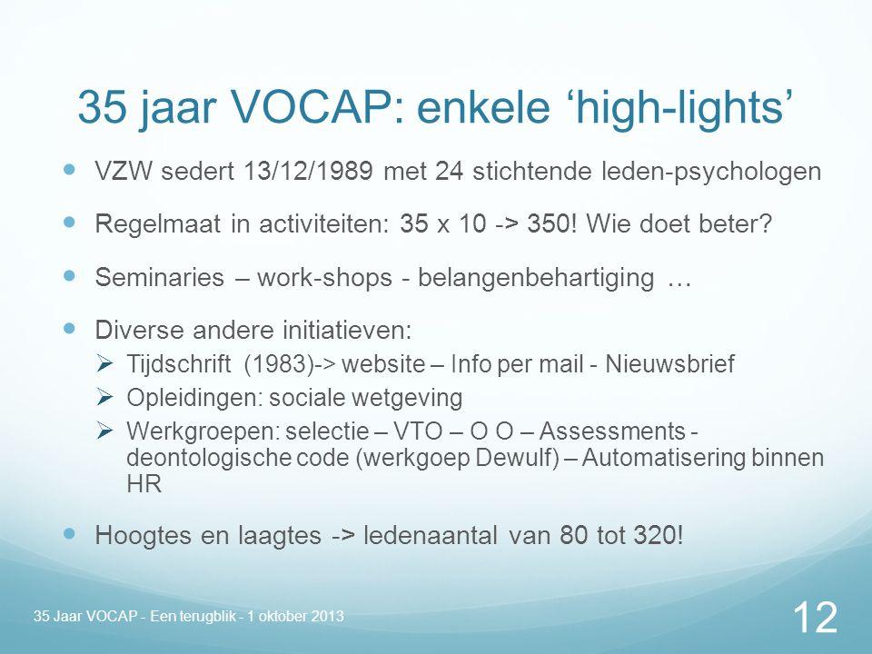 35 jaar VOCAP: enkele 'high-lights' VZW sedert 13/12/1989 met 24 stichtende leden-psychologen Regelmaat in activiteiten: 35 x 10 -> 350.