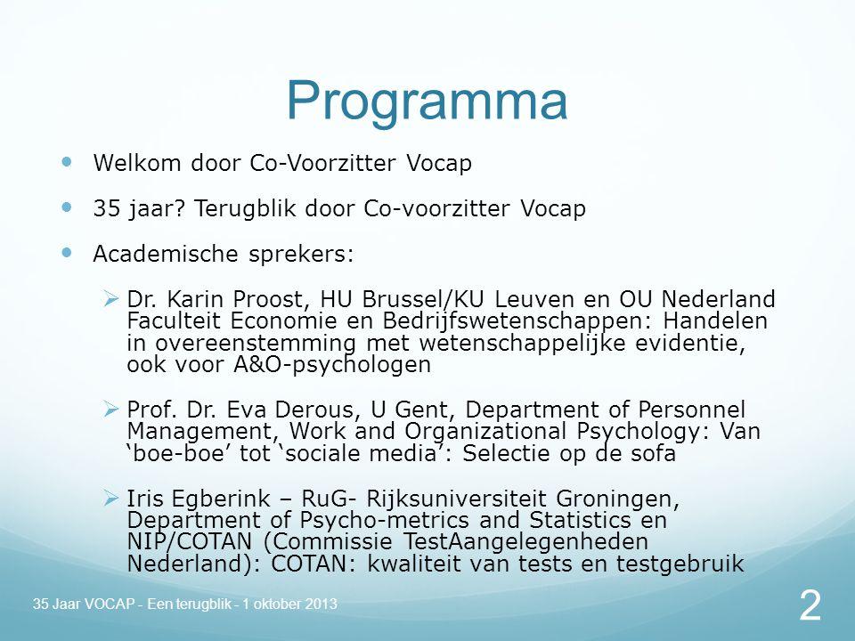 Programma Welkom door Co-Voorzitter Vocap 35 jaar.