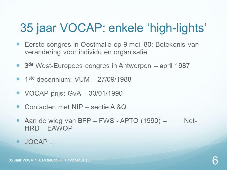 35 jaar VOCAP: enkele 'high-lights' Eerste congres in Oostmalle op 9 mei '80: Betekenis van verandering voor individu en organisatie 3 de West-Europees congres in Antwerpen – april 1987 1 ste decennium: VUM – 27/09/1988 VOCAP-prijs: GvA – 30/01/1990 Contacten met NIP – sectie A &O Aan de wieg van BFP – FWS - APTO (1990) – Net- HRD – EAWOP JOCAP … 35 Jaar VOCAP - Een terugblik - 1 oktober 2013 6