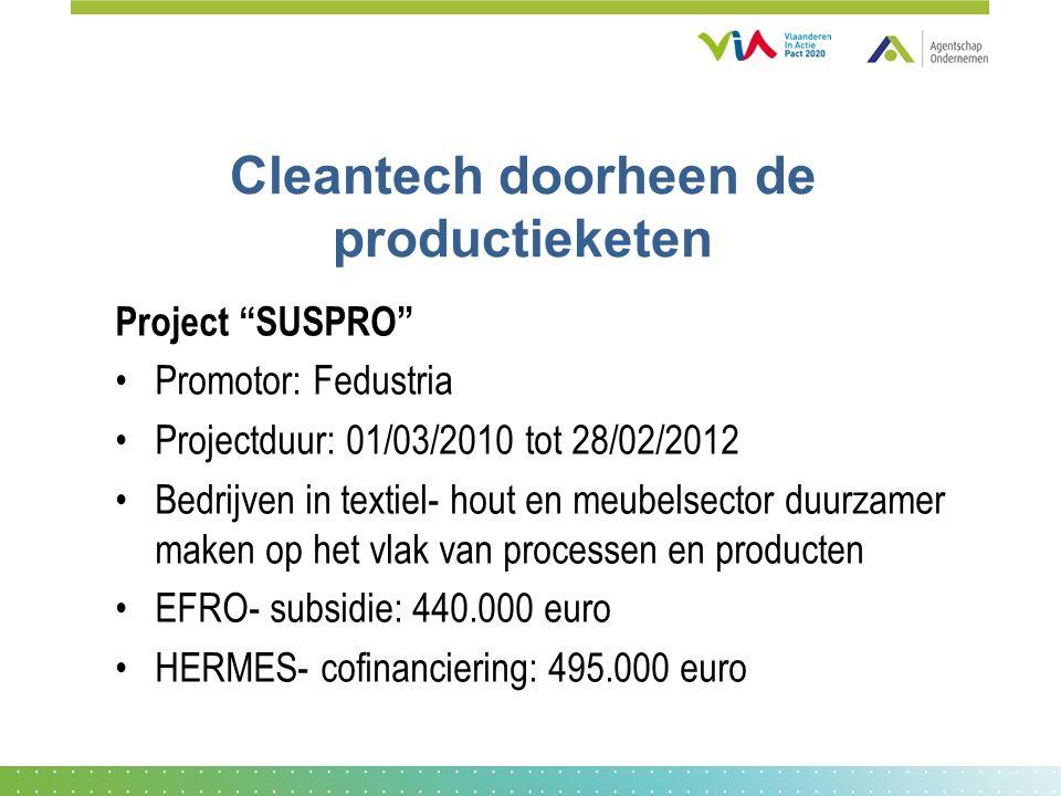 Cleantech doorheen de productieketen Project SUSPRO Promotor: Fedustria Projectduur: 01/03/2010 tot 28/02/2012 Bedrijven in textiel- hout en meubelsector duurzamer maken op het vlak van processen en producten EFRO- subsidie: 440.000 euro HERMES- cofinanciering: 495.000 euro