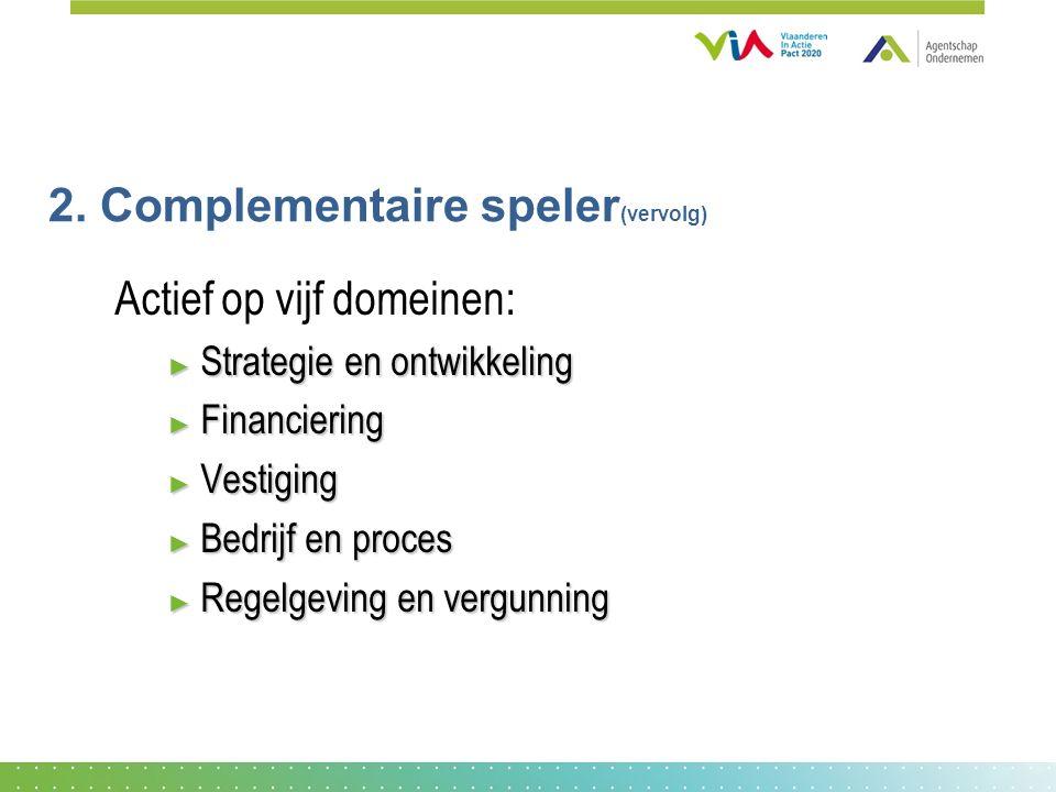 2. Complementaire speler (vervolg) Actief op vijf domeinen: ► Strategie en ontwikkeling ► Financiering ► Vestiging ► Bedrijf en proces ► Regelgeving e