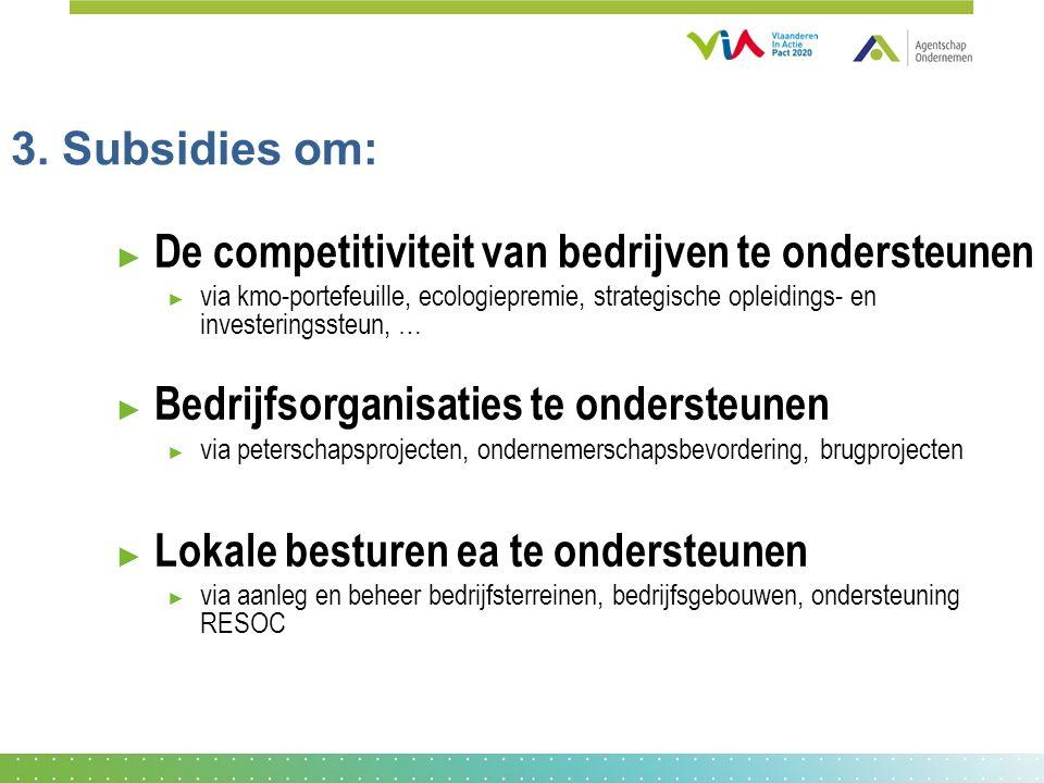 3. Subsidies om: ► De competitiviteit van bedrijven te ondersteunen ► via kmo-portefeuille, ecologiepremie, strategische opleidings- en investeringsst
