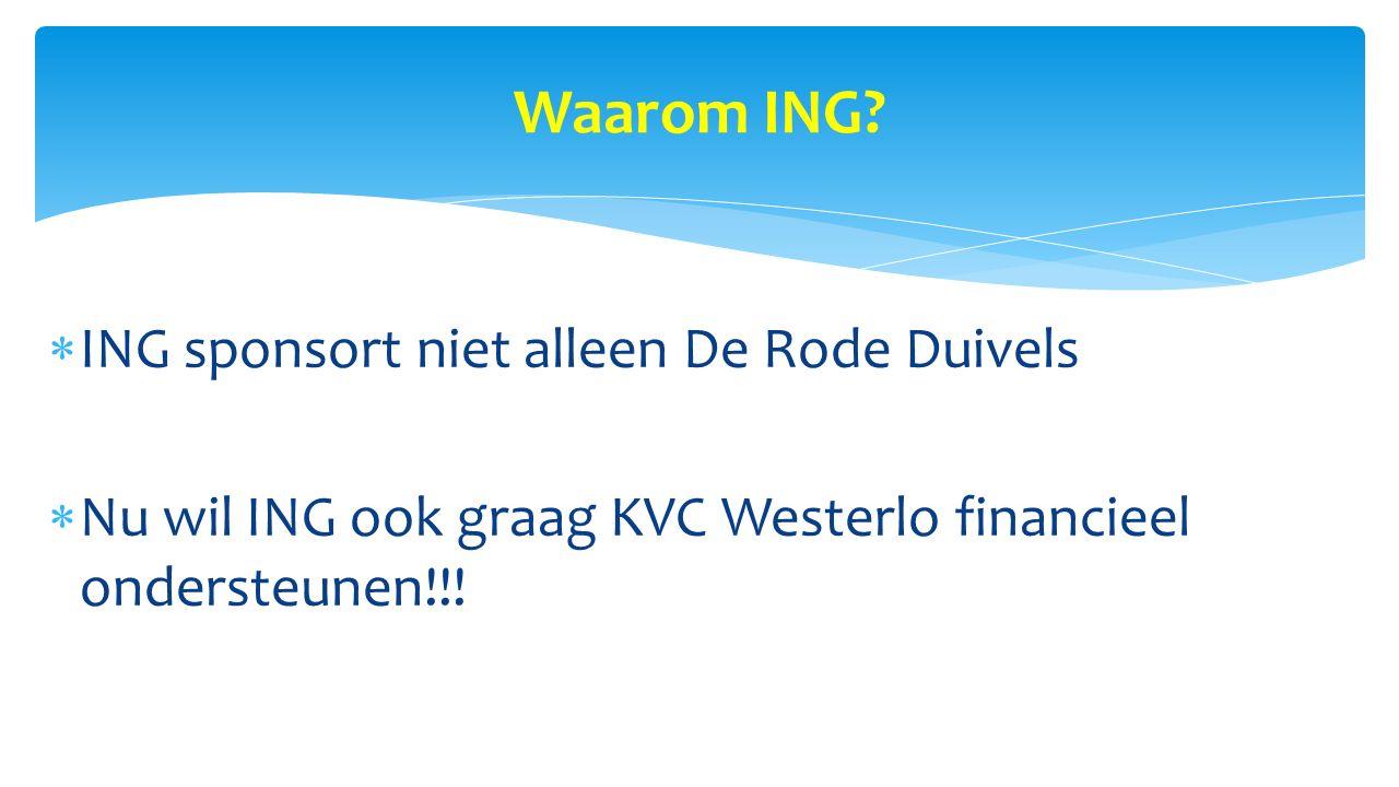Waarom ING?  ING sponsort niet alleen De Rode Duivels  Nu wil ING ook graag KVC Westerlo financieel ondersteunen!!!