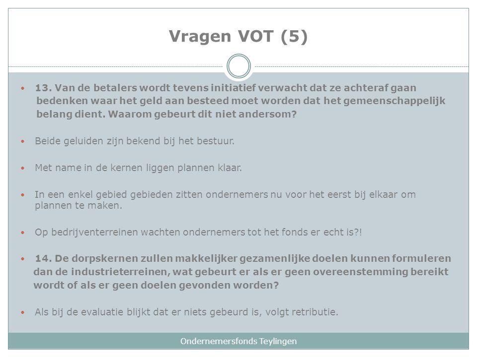 Vragen VOT (5) 13. Van de betalers wordt tevens initiatief verwacht dat ze achteraf gaan bedenken waar het geld aan besteed moet worden dat het gemeen