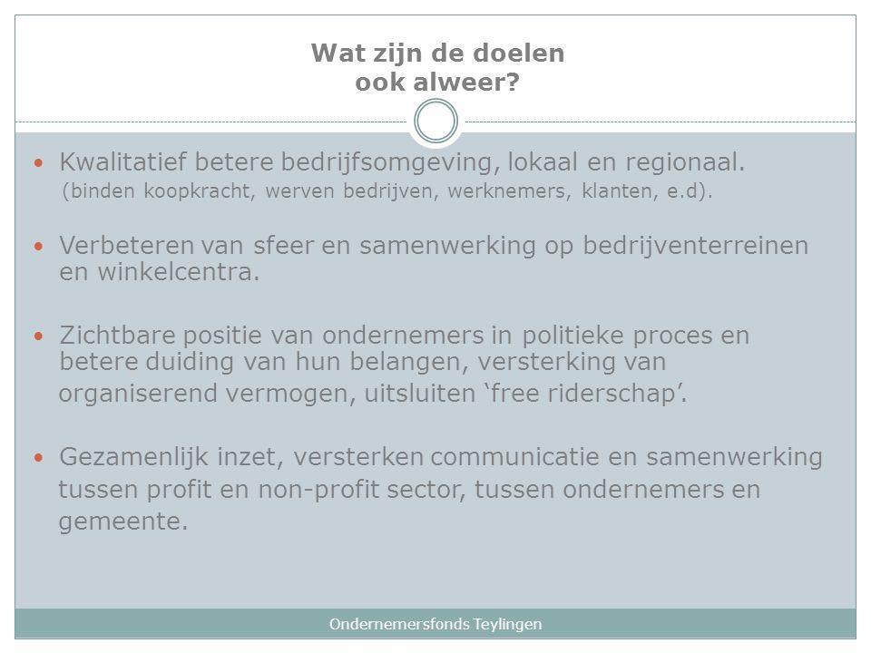 Wat zijn de doelen ook alweer? Ondernemersfonds Teylingen Kwalitatief betere bedrijfsomgeving, lokaal en regionaal. (binden koopkracht, werven bedrijv