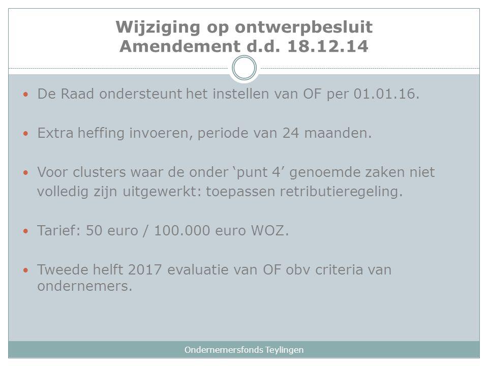Ondernemersfonds Teylingen De Raad ondersteunt het instellen van OF per 01.01.16. Extra heffing invoeren, periode van 24 maanden. Voor clusters waar d