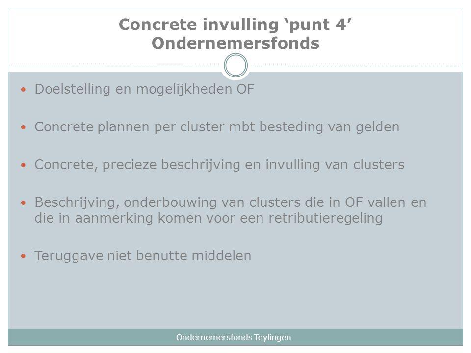 Concrete invulling 'punt 4' Ondernemersfonds Ondernemersfonds Teylingen Doelstelling en mogelijkheden OF Concrete plannen per cluster mbt besteding va