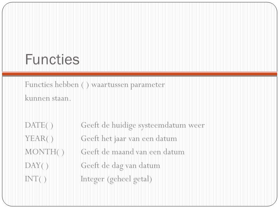 Functies Functies hebben ( ) waartussen parameter kunnen staan.