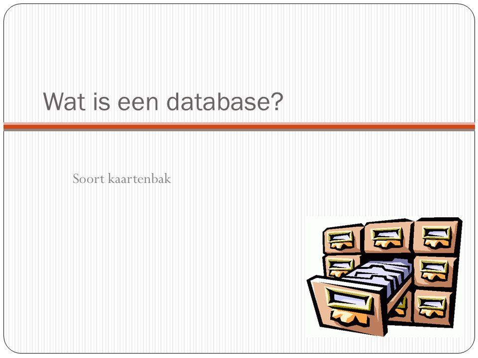 Wat is een database Soort kaartenbak