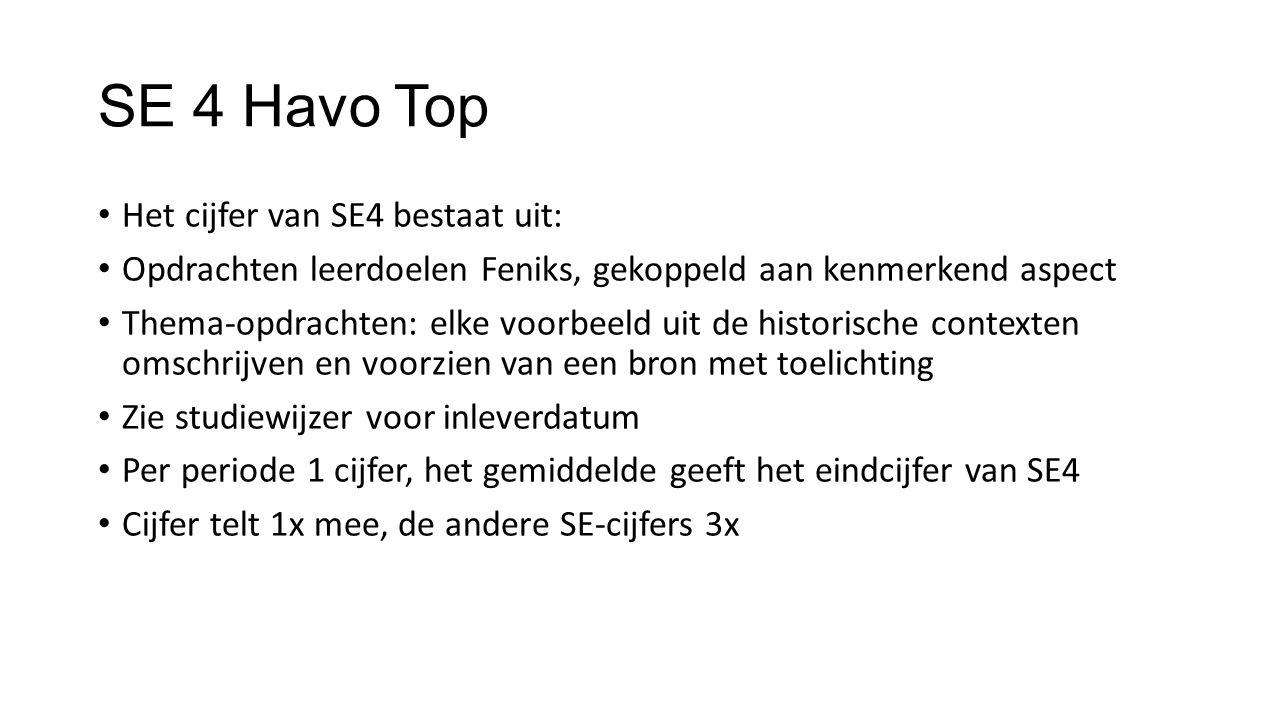 SE 4 Havo Top Het cijfer van SE4 bestaat uit: Opdrachten leerdoelen Feniks, gekoppeld aan kenmerkend aspect Thema-opdrachten: elke voorbeeld uit de hi