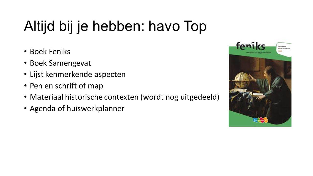 Altijd bij je hebben: havo Top Boek Feniks Boek Samengevat Lijst kenmerkende aspecten Pen en schrift of map Materiaal historische contexten (wordt nog