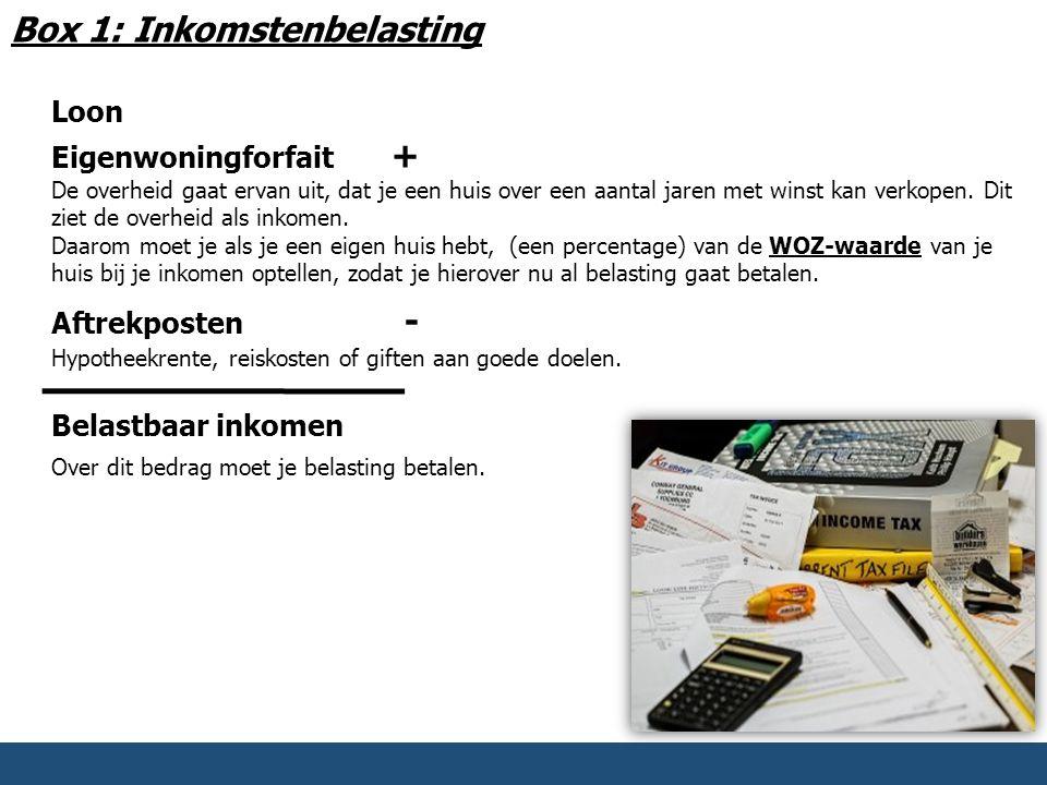 Box 1: Inkomstenbelasting Loon Eigenwoningforfait + De overheid gaat ervan uit, dat je een huis over een aantal jaren met winst kan verkopen. Dit ziet