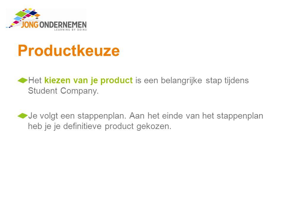 Productkeuze Stappenplan Bepaal je doelgroep Onderzoek je doelgroep Wat, Waarom, Wow Selecteer drie problemen Formuleer HKJ's Bedenk ideeën Maak ideekaarten Kies je definitieve product