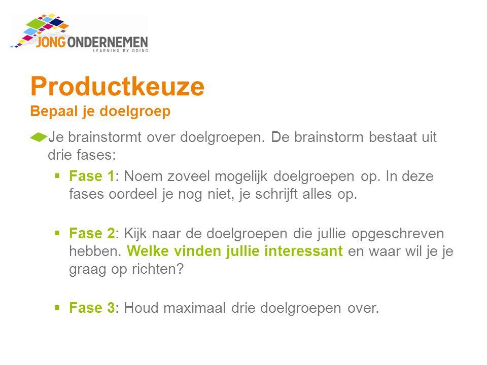 Productkeuze Bepaal je doelgroep Maak opdracht 3.