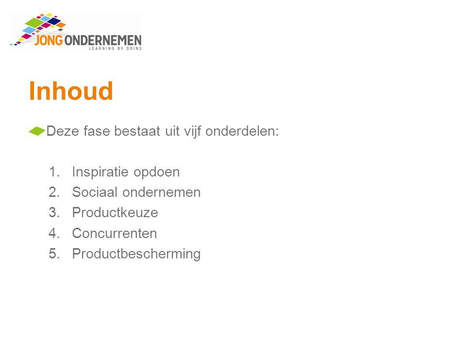 Inhoud Deze fase bestaat uit vijf onderdelen: 1.Inspiratie opdoen 2.Sociaal ondernemen 3.Productkeuze 4.Concurrenten 5.Productbescherming