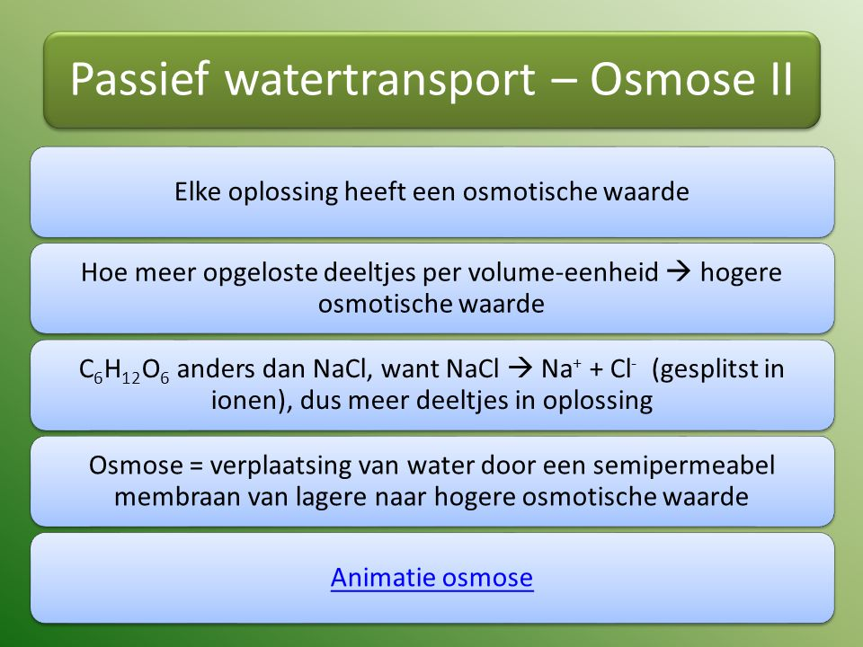 Passief watertransport – Osmose II Elke oplossing heeft een osmotische waarde Hoe meer opgeloste deeltjes per volume-eenheid  hogere osmotische waarde C6H12O 6 anders dan NaCl, want NaCl  Na+ + Cl- (gesplitst in ionen), dus meer deeltjes in oplossing Osmose = verplaatsing van water door een semipermeabel membraan van lagere naar hogere osmotische waarde Animatie osmose