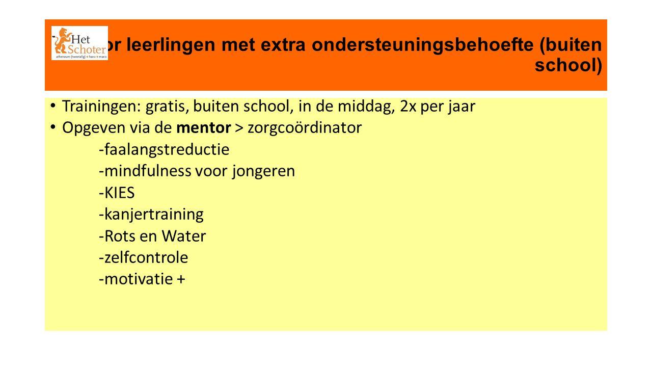 voor leerlingen met extra ondersteuningsbehoefte (buiten school) Trainingen: gratis, buiten school, in de middag, 2x per jaar Opgeven via de mentor > zorgcoördinator -faalangstreductie -mindfulness voor jongeren -KIES -kanjertraining -Rots en Water -zelfcontrole -motivatie +
