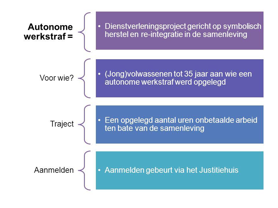 Autonome werkstraf = Dienstverleningsproject gericht op symbolisch herstel en re-integratie in de samenleving Voor wie.