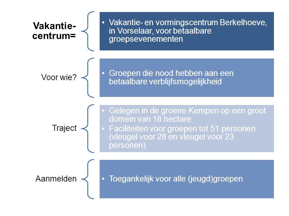 Vakantie- centrum= Vakantie- en vormingscentrum Berkelhoeve, in Vorselaar, voor betaalbare groepsevenementen Voor wie.