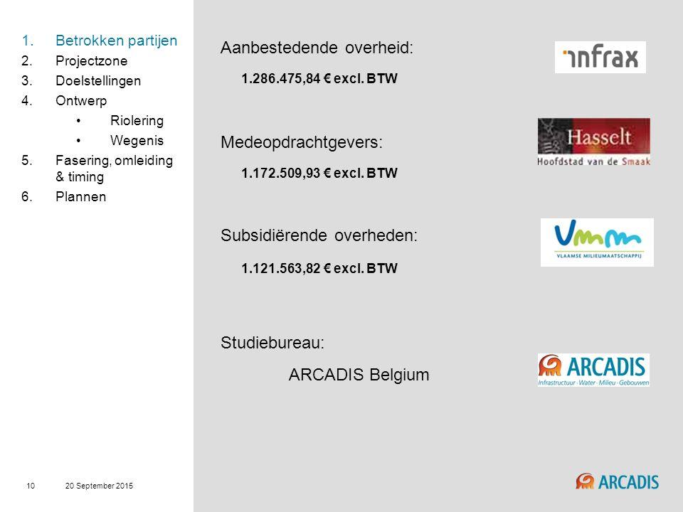 20 September 2015 10 Aanbestedende overheid: 1.286.475,84 € excl.