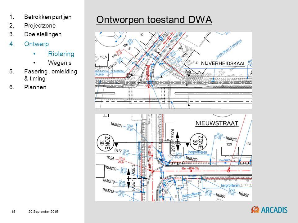 20 September 2015 15 Ontworpen toestand DWA 1.Betrokken partijen 2.Projectzone 3.Doelstellingen 4.Ontwerp Riolering Wegenis 5.Fasering, omleiding & timing 6.Plannen