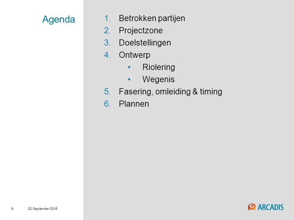 20 September 2015 9 Agenda 1.Betrokken partijen 2.Projectzone 3.Doelstellingen 4.Ontwerp Riolering Wegenis 5.Fasering, omleiding & timing 6.Plannen