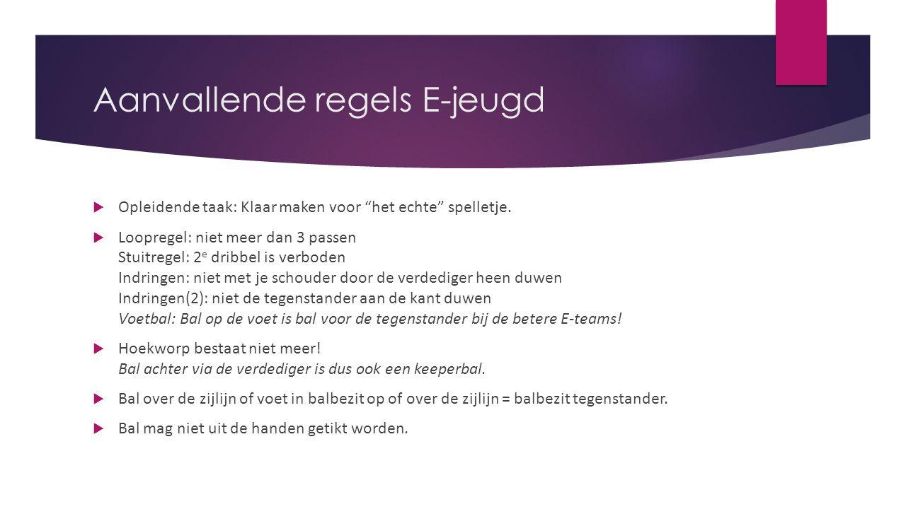 """Aanvallende regels E-jeugd  Opleidende taak: Klaar maken voor """"het echte"""" spelletje.  Loopregel: niet meer dan 3 passen Stuitregel: 2 e dribbel is v"""