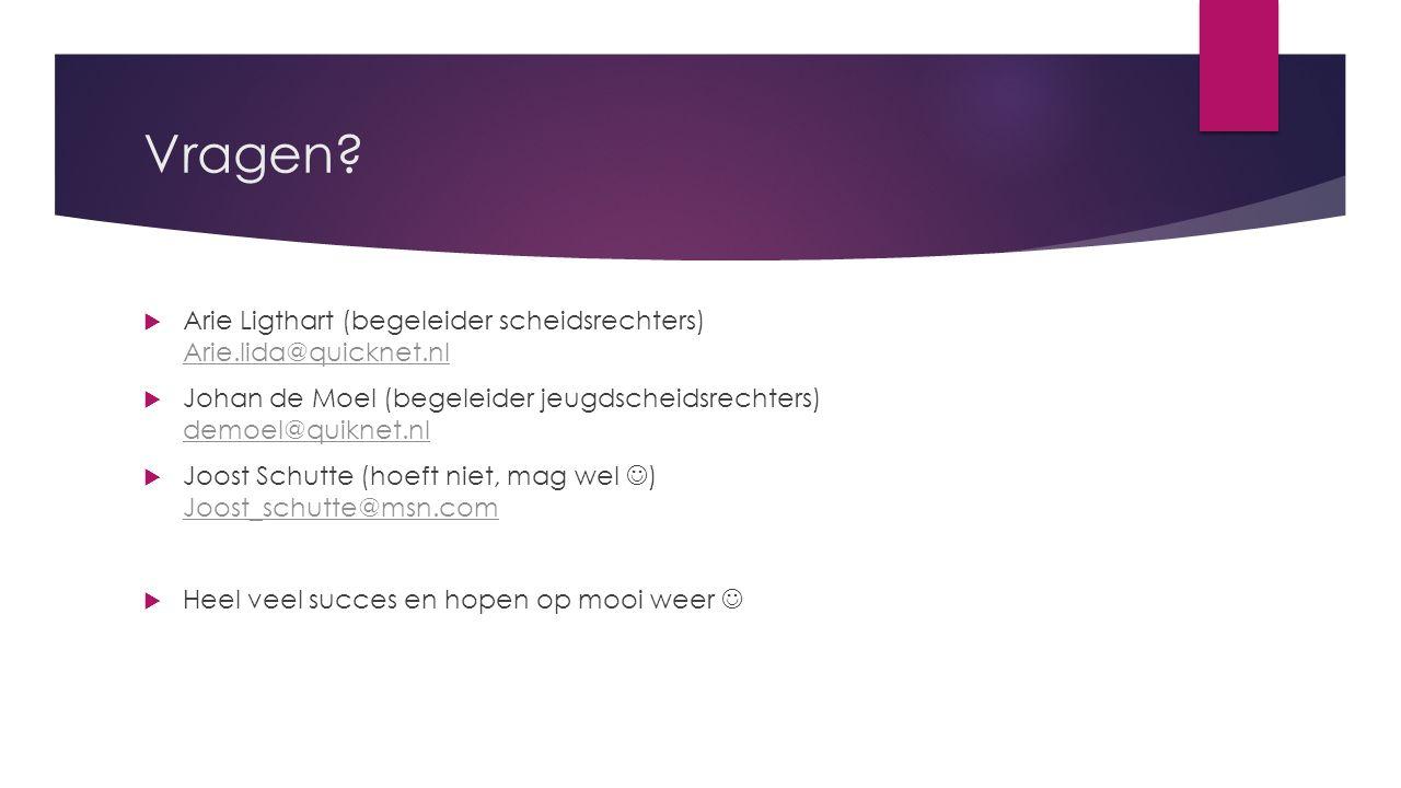 Vragen?  Arie Ligthart (begeleider scheidsrechters) Arie.lida@quicknet.nl Arie.lida@quicknet.nl  Johan de Moel (begeleider jeugdscheidsrechters) dem