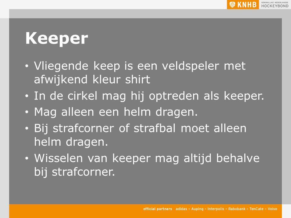 Keeper Vliegende keep is een veldspeler met afwijkend kleur shirt In de cirkel mag hij optreden als keeper. Mag alleen een helm dragen. Bij strafcorne