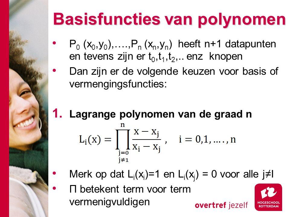 Basisfuncties van polynomen P 0 (x 0,y 0 ),….,P n (x n,y n ) heeft n+1 datapunten en tevens zijn er t 0,t 1,t 2,..