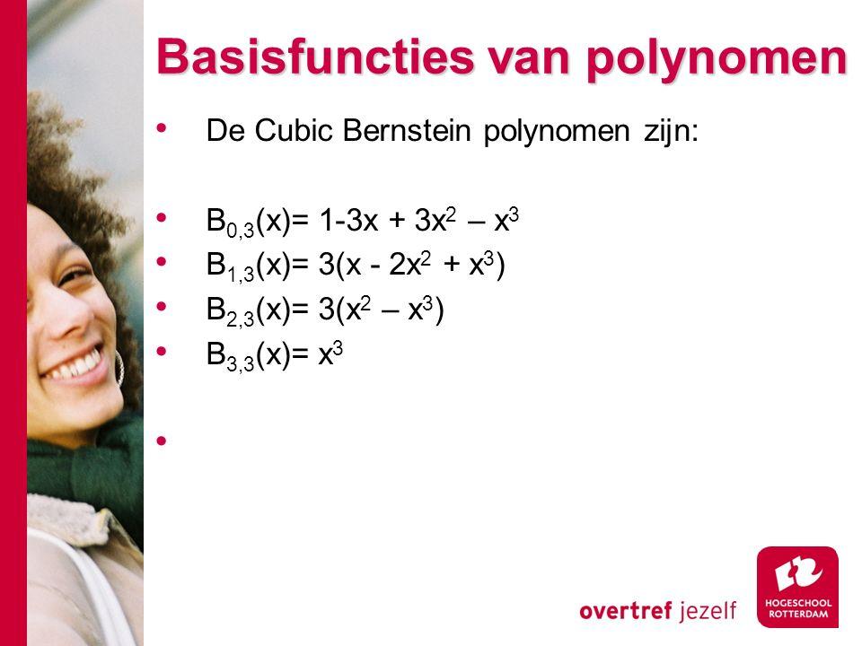 Basisfuncties van polynomen De Cubic Bernstein polynomen zijn: B 0,3 (x)= 1-3x + 3x 2 – x 3 B 1,3 (x)= 3(x - 2x 2 + x 3 ) B 2,3 (x)= 3(x 2 – x 3 ) B 3,3 (x)= x 3