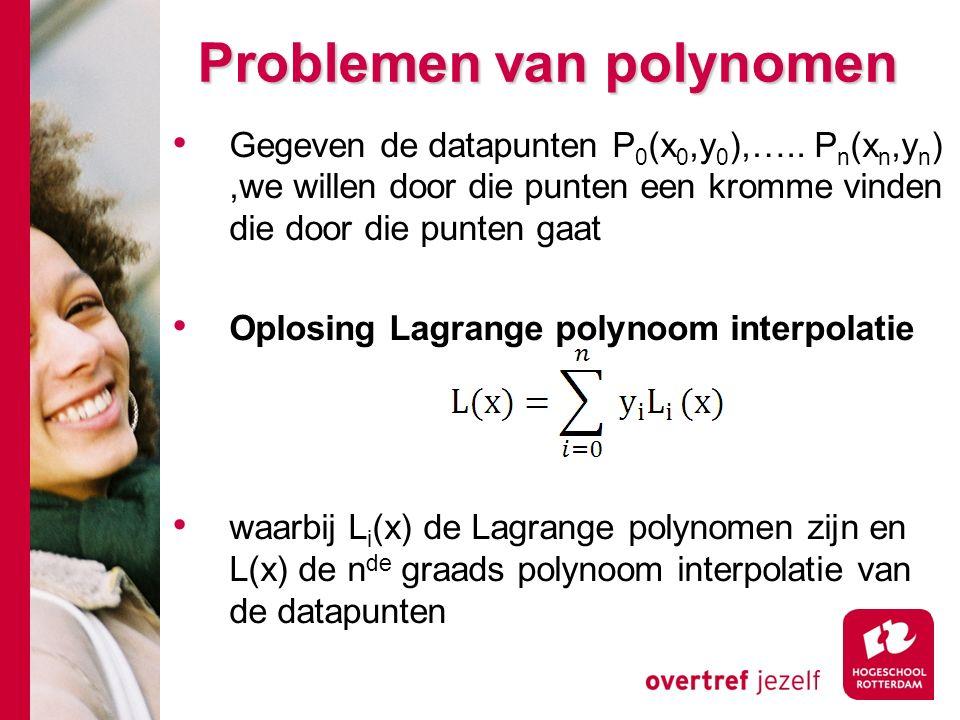 Problemen van polynomen Gegeven de datapunten P 0 (x 0,y 0 ),…..